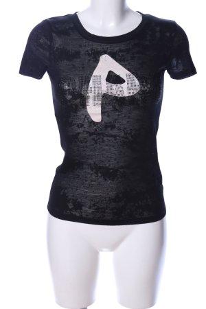 Phard T-shirt nero Stampa a tema stile casual