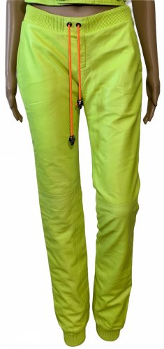 Philipp Plein Leather Trousers yellow-meadow green