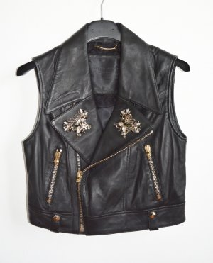 Philipp Plein Leather Vest black-gold-colored leather