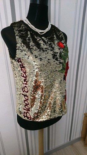 Philipp Plein Couture Shirt Top Oberteil mit Pailletten Größe 36/38