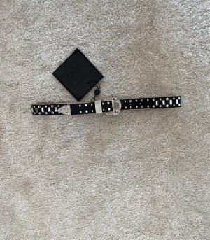 Philipp Plein Cintura di pelle nero-argento Pelle