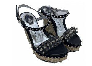 Philipp Plein Wedge Sandals black-silver-colored