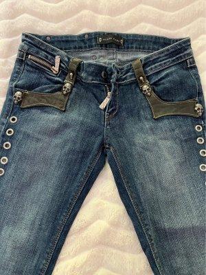 Philipp Plein Jeans vita bassa blu acciaio