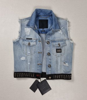 Philipp Plein Gilet en jean bleu coton