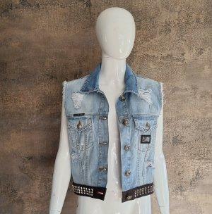 Philipp Plein Smanicato jeans azzurro Cotone