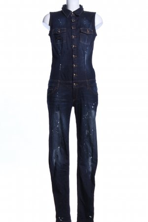 Philipp Plein Jumpsuit blau-weiß Allover-Druck Casual-Look