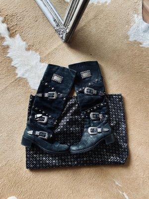 Philipp Plein Leder Stiefel mit silber Schnallen schwarz Gr 36