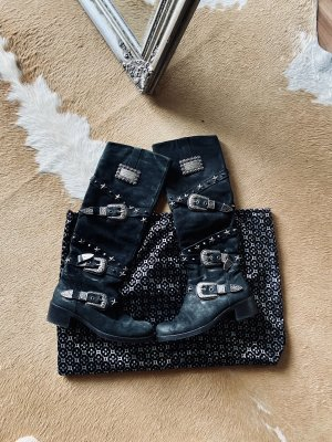 Philipp Plein Heel Boots black-silver-colored leather