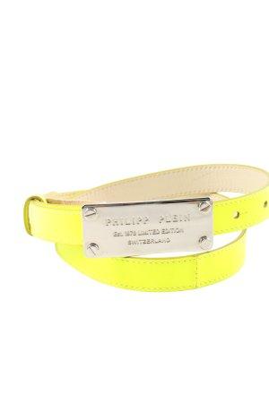 Philipp Plein Cinturón de cuero de imitación amarillo pálido look casual