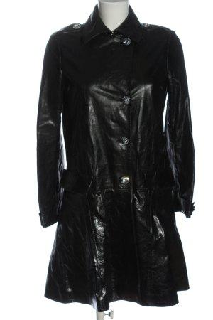 Philipp Plein Leather Coat black casual look