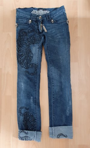 Philipp Plein LIMITED Handmade Crystal Skull Cougar Denim Jeans