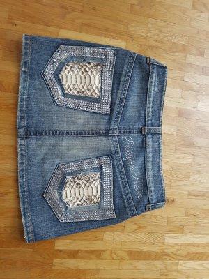 PHILIPP PLEIN Minirock ECHT PYTHON Leder Jeansrock Jeans Crystal 34/36