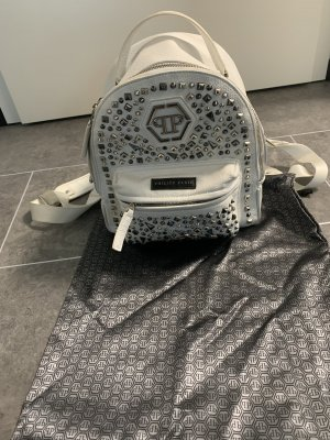Philipp Plein Laptop Backpack white-silver-colored leather