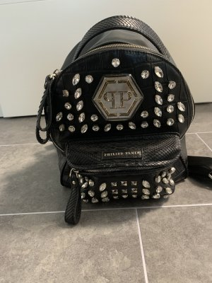 Philipp Plein Laptop Backpack black-silver-colored leather