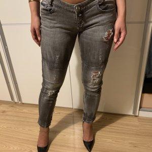 Philipp Plein Jeans vita bassa grigio