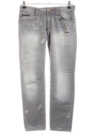 Philipp Plein Slim Jeans hellgrau Casual-Look