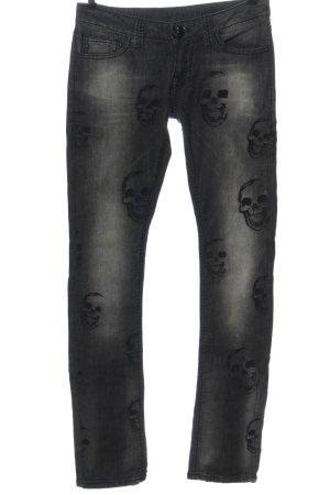 Philipp Plein Straight Leg Jeans black themed print street-fashion look