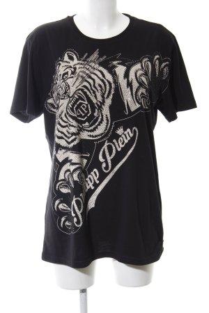 Philipp Plein T-Shirt schwarz-silberfarben Motivdruck extravaganter Stil