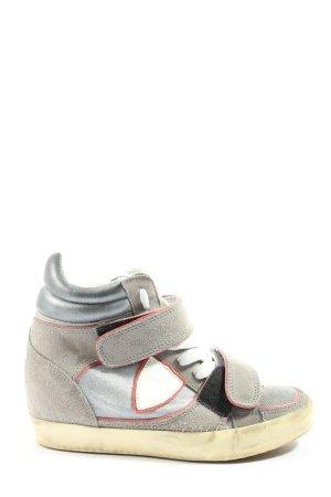 Philippe Model High Top Sneaker hellgrau-rot Casual-Look