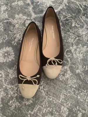 Phillip Hardy Paris Ballerinas with Toecap dark brown-cream leather