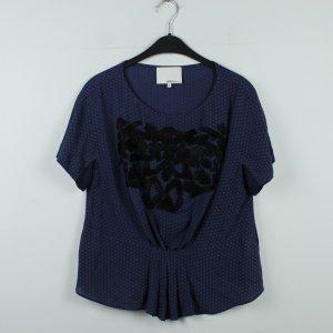 PHILLIP LIM Seidenbluse Gr. 36 blau schwarz gemustert (20/01/043)
