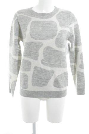 philo-sofie Rundhalspullover hellgrau-weiß abstraktes Muster Casual-Look