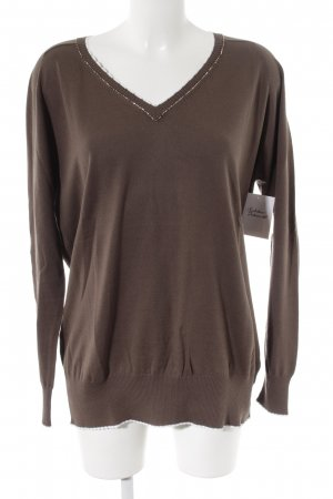 philo-sofie V-Ausschnitt-Pullover graubraun-weiß Casual-Look
