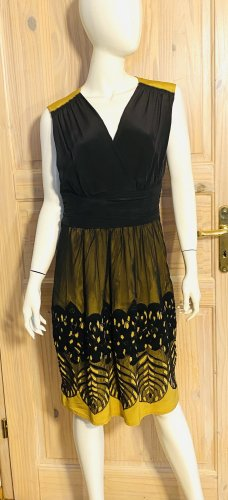Philosophy Di Alberta Ferretti A Line Dress lime yellow-black silk