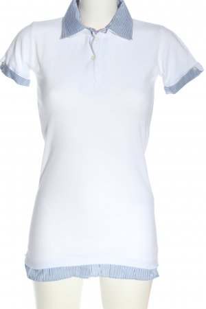 PIAZA ITALIA Polo blanc-bleu motif rayé style décontracté