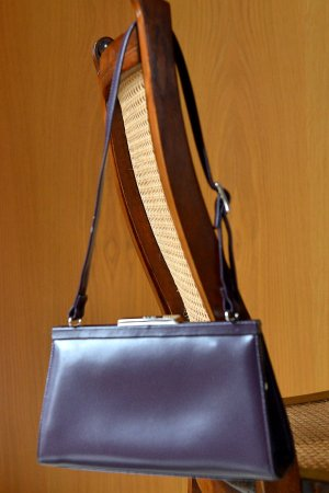 PICARD kleine Handtasche Clutch Lila Flieder Bügeltasche Henkeltasche Vintage 80er 90er