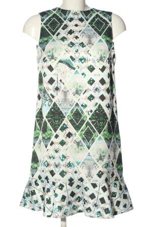 piccione Sukienka z falbanami biały-zielony Na całej powierzchni Elegancki