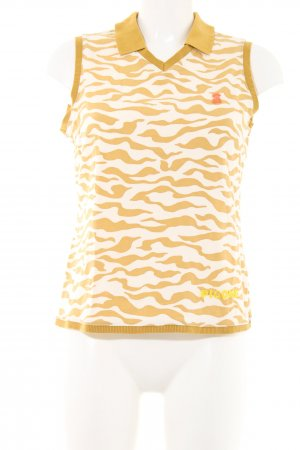 Polo Top light orange-white abstract pattern athletic style