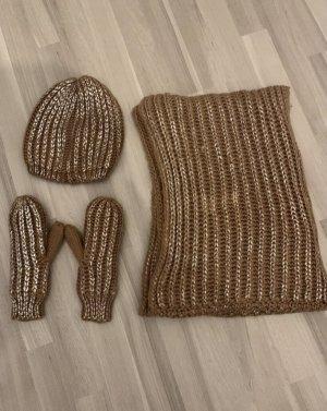 Pieces Sciarpa lavorata a maglia rosa antico-argento