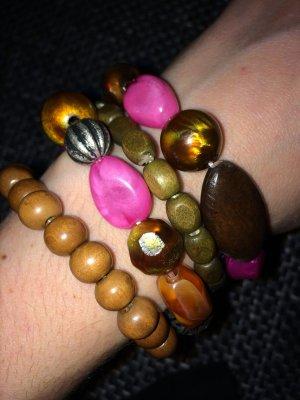 Pieces Armbänder pink, braun