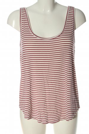 Pieces Basic Top weiß-rot Streifenmuster Casual-Look