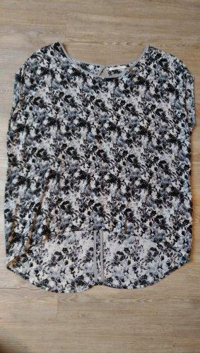 Pieces Bluse Shirt Blumen XS/S grau weiß schwarz Rückenfrei