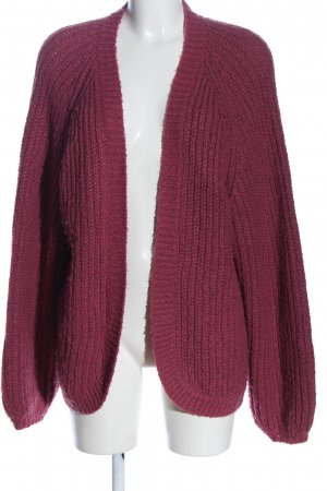 Pieces Cardigan rot Zopfmuster Casual-Look