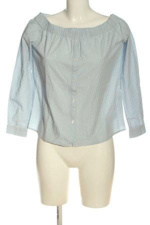 Pieces Carmenshirt blau-weiß Allover-Druck Casual-Look