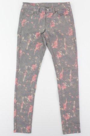 Pieces Five-Pocket-Hose Größe XS/S mit Blumenmuster grau aus Baumwolle