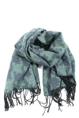 Pieces Bufanda de flecos azul-turquesa estampado con diseño abstracto