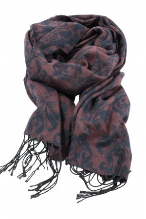 Pieces Fringed Scarf brown-blue abstract pattern business style