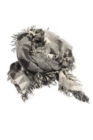 Pieces Bufanda de flecos blanco puro-gris claro Patrón de tejido look casual