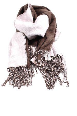 Pieces Écharpe à franges blanc-brun style décontracté