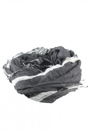 Pieces Fringed Scarf light grey-white striped pattern casual look