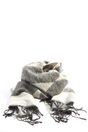 Pieces Bufanda de flecos gris claro-blanco look casual