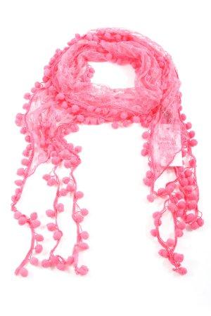 Pieces Bufanda de flecos rosa look casual