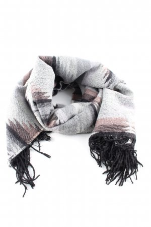 Pieces Fringed Scarf black-light grey abstract pattern casual look