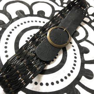Pieces Cintura intrecciata nero-oro