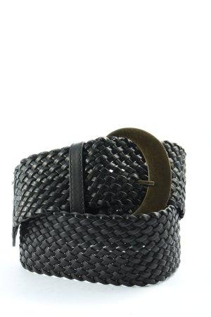 Pieces Hebilla del cinturón negro punto trenzado look casual