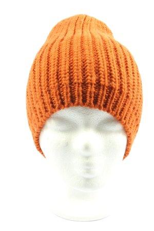 Pieces Gorro tejido naranja claro punto trenzado look casual